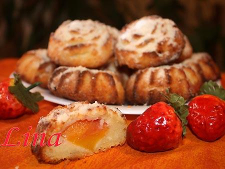Кексы творожные с персиком